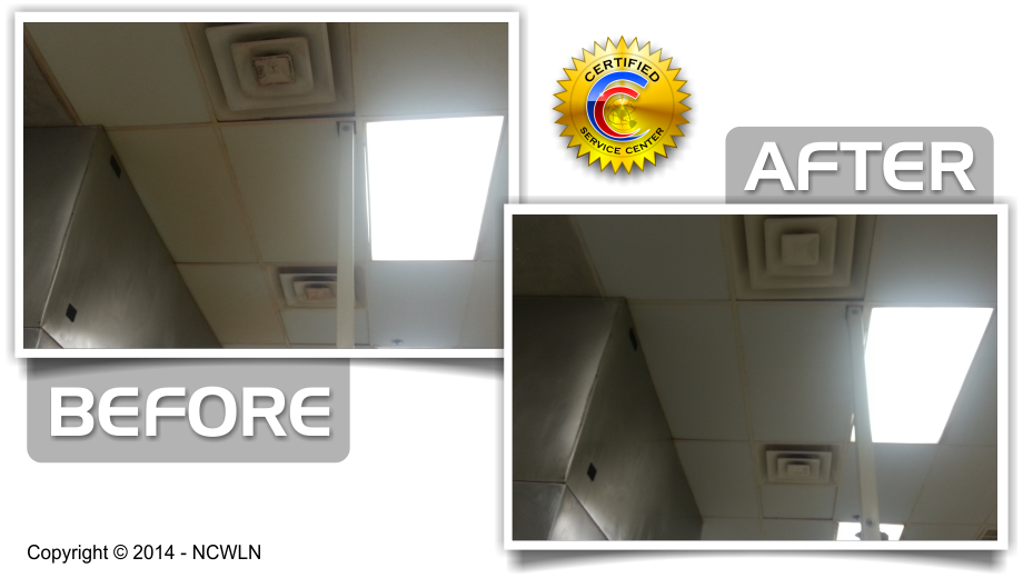 Before and After Cleaning of the Acoustical Ceilings